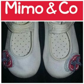 Zapatos Balerinas Guillermina Mimo Con Abrojo 20 Lona Blanca