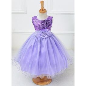 Vestido Infantil Criança Festa Aniversário Dama Paetê Longo