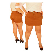 Short Saia Plus Size Stretch Manuh Caramelo