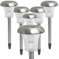 Kit 6 Luminárias Solar De Jardim Poste Aço Inox Ec1126