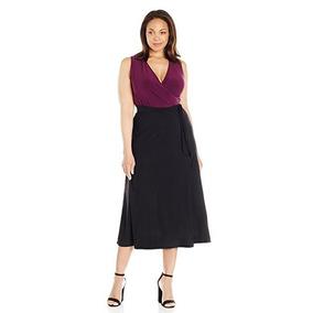 Vestido Cruzado Ciruela/ Negro Talla Extra Importación