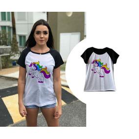 f1e1a514d46d5 Camiseta Feminina Unicórnio Colorido T Shirt Preta Raglan · R  39 90