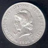 Moneda De Plata De Brasil 2000 Reis 1906