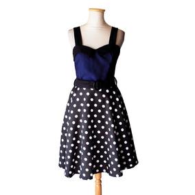 Vestido Pin Up Lunares Azul Negro Estilo Retro Vintage