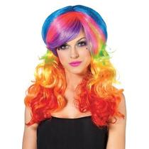 Leg Avenue Rainbow Peluca Rocker, Multi-color, Talla Única