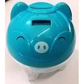 Cofrinho Digital Contador Moedas Porquinho Porco Cofre Azul