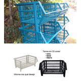 Kit 12 Cestos Empilhável Gondolas Direto De Fabrica R$ Menor