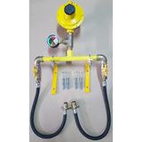 Kit Cavalete 1/2 C/ Manômetro P/instação 2 Botijão P45 Glp