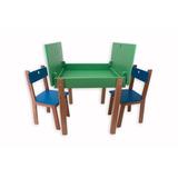 Mesa Carteira Gerana Infantil Colorida Com 2 Cadeiras Em Mdf