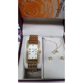 Relógio Champion Quadrado Dourado Kit Colar/brinco Ch24231w