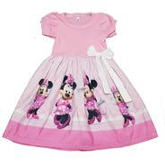 Vestido Infantil Minnie  Rosa Manga Curta  Fab2
