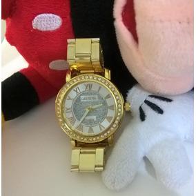 a47fee19446 Relogio Pulso Dourado Geneva Feminino Angelina Jolie Luxo - Relógios ...