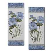 Par De Quadros Floral Azul 20x60 Para Sala Quarto Corredor I