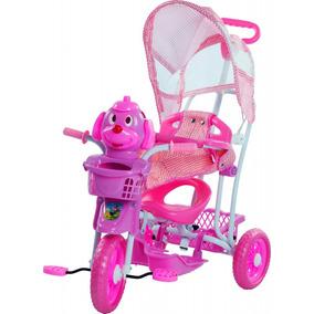 Triciclo Carrinho De Criança Gangorra Cabeça Cachorro Rosa
