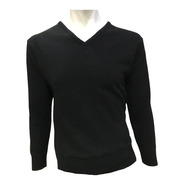 Suéter Negro Cuello V Hombre