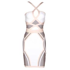 Vestido Bandagem Branco Rose Cinza Verificar Disponibilidade