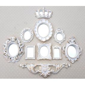 Kit 9 Molduras Ouro Provençal Já Com Espelhos Decorativos