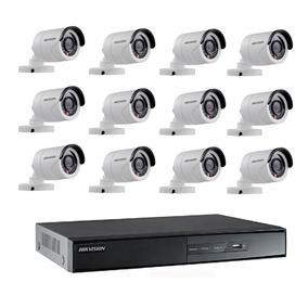 Kit Monitoramento Hikvision Dvr16 Canais+16 Câmeras Hd 1080p