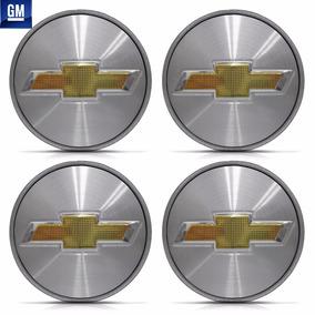 4 Calota Centro Roda Onix Prisma Cobalt Spin Prata Escovado