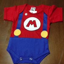 Body Bebê Menino Super Mário