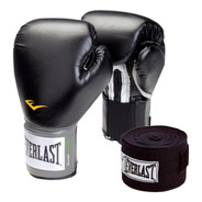 Kit Boxeo Everlast Guantes Prostyle Negro Vs Oz  Vendas 120