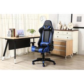 Cadeira Gamer Encosto Reclinável Altura Reg Preta + Azul