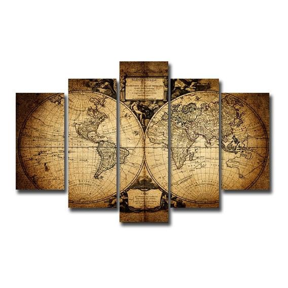 Cuadros Mapamundi Antiguo Planisferio 150x100 Tela Canvas