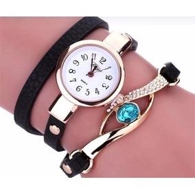 Relógio Pulseira De Couro Com Pedra Vintage Feminino Luxuoso