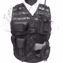 Chaleco Táctico Policíaco Con Piel,sistema Molle Porta Arma