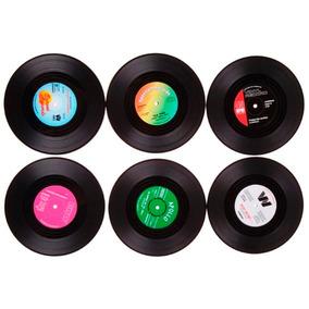 Set 6 Porta Vasos Retro Vinil Disco Vintage - Envío Gratis!