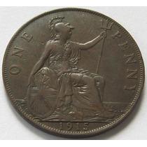 Gran Bretaña 1 Penny Del Año 1915 Rey Georg V Vf!