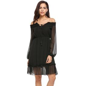 3a33a367d2 Vestidos Largos De Chifon Otros Mujer - Vestidos de Mujer Negro en ...