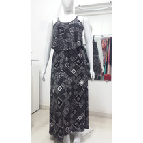 Vestido Longo Estampado Liganet Plus Size Veste Do 44 Ao 50.