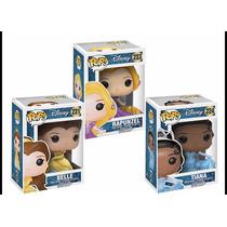 Funko Pop Princesas Disney Bella, Rapunzel, Tiana