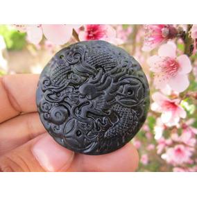 Medallon De Jade Dragón Chino Talismán Suerte Cuarzo Piedra