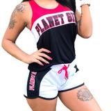 Shorts Box College C/ Laço Letreiro Planet Girls