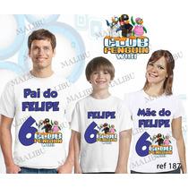 Lembrança De Aniversario Clube Do Pinguim Camiseta Kit Com 3