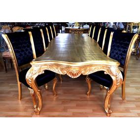 Mesa De Jantar Dourada Luis Xv Madeira Folheada Ouro Entalhe
