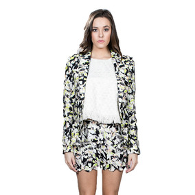 Blazer Formal De Estampado Floral Color Negro Y Verde