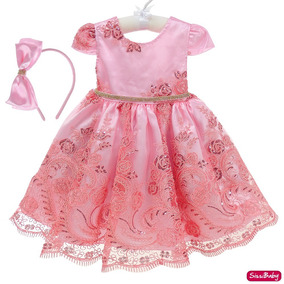 Vestido Infantil Rosa Realeza Daminha Luxo Chuva De Benção