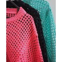 Sweater Buzo Tejido Calado Mujer Verano Para La Playa Olivos