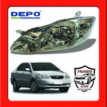 Farol Toyota Corolla 2002 2003 2004 Esquerdo Cromado Depo