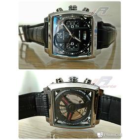 Relógio Monaco Black 24 Novo Calibre 36 Tampa Vidro Couro