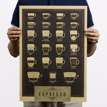 Poster Decorativo Vintage Para Cafe Tazas Bar Retro Kraft