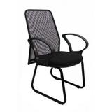 Cadeira Diretor Trapézio Tela Base Fixa Tecido Preto