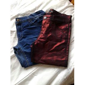 Pantalon Pitillo Mujer Index Rojo Metálico