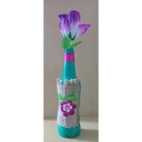 Garrafa Decorada 22 Cm Altura - Artesanato Acompanha A Flor