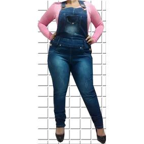 Jardineira Macação Calça Jeans C/ Lycra Plus Size
