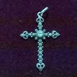 Crucifixo Prata De Lei Marcassita Antigo