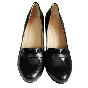 Zapato Mujer 38 Punta Acharolada Taco 7.5 Moda Vestir Navid
